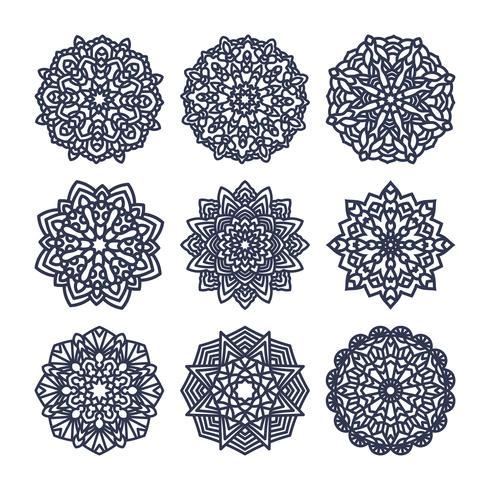 Conjunto de mandalas. Meditação indiana do casamento. vetor