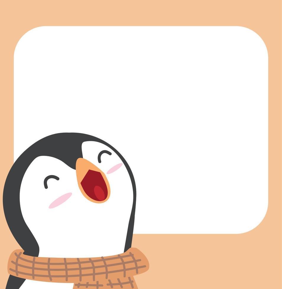 Inverno de pinguim-cabeça fofa com sinal em branco vetor