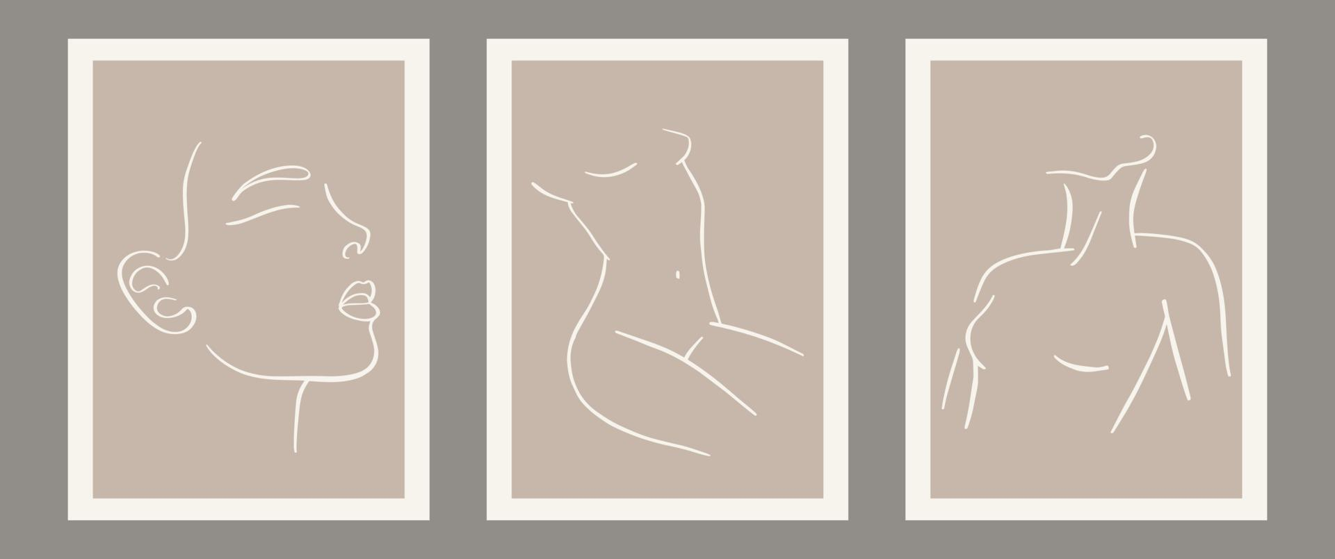 conjunto contemporâneo de composição de silhueta de mulher minimalista e abstrata vetor