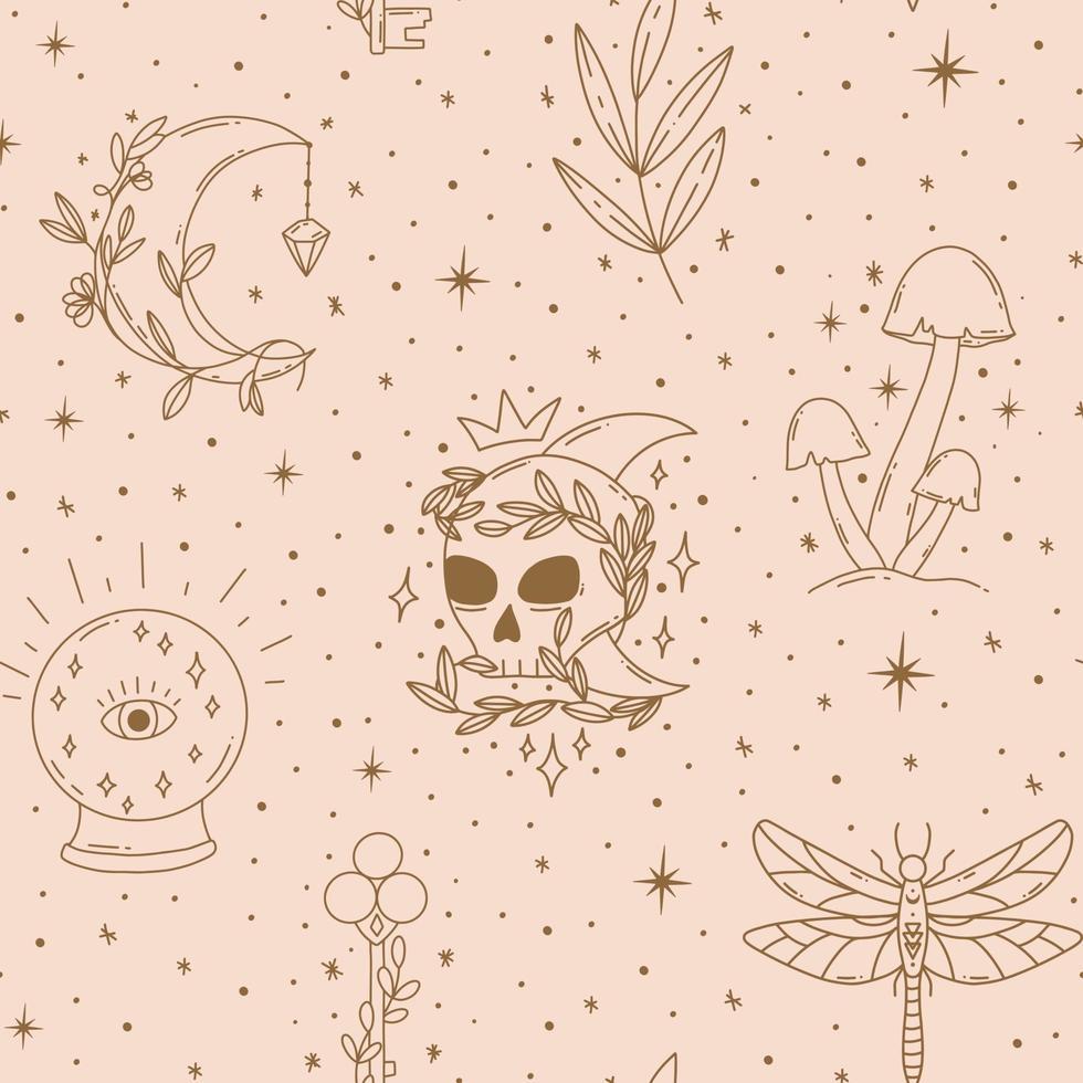 padrão sem emenda mágico contemporâneo com cogumelos, lua, folha, chave vetor