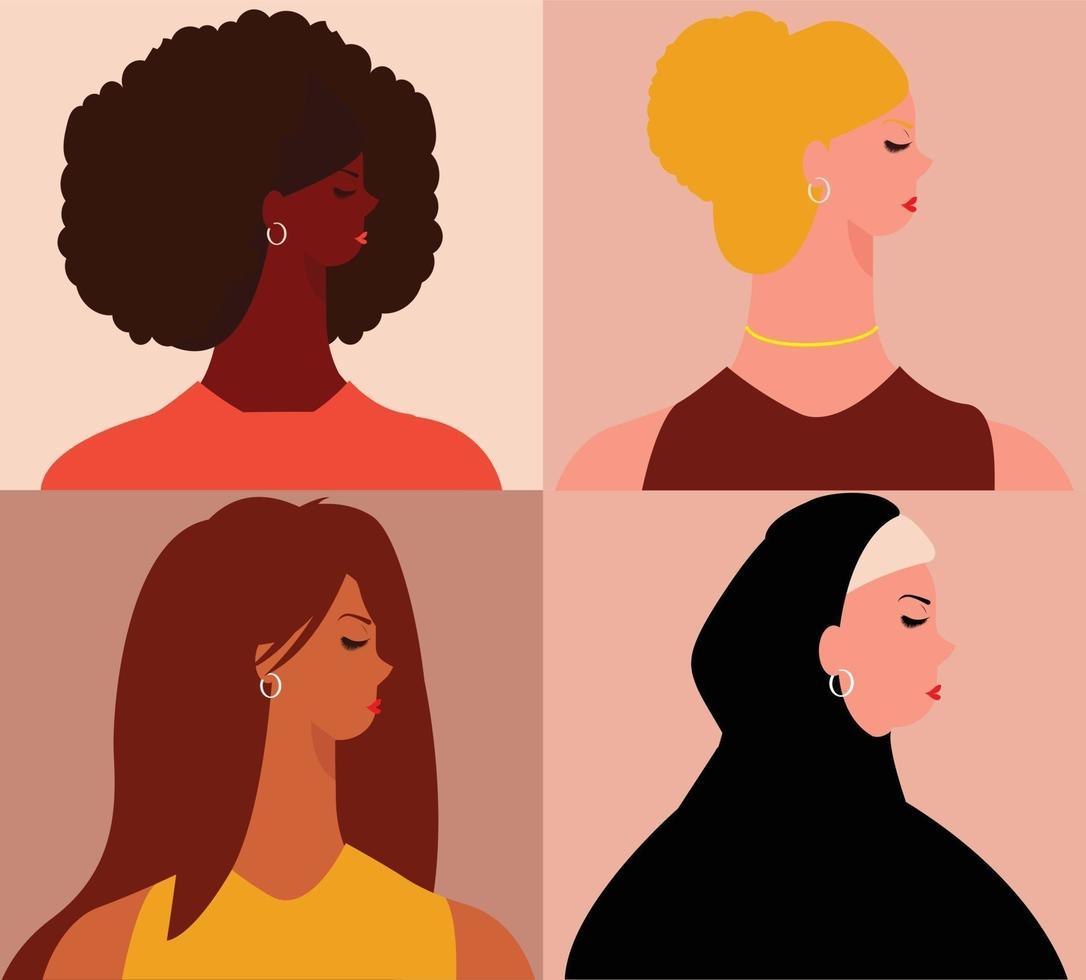 grupo de mulheres de diferentes países. conceito de multiculturalismo. vetor