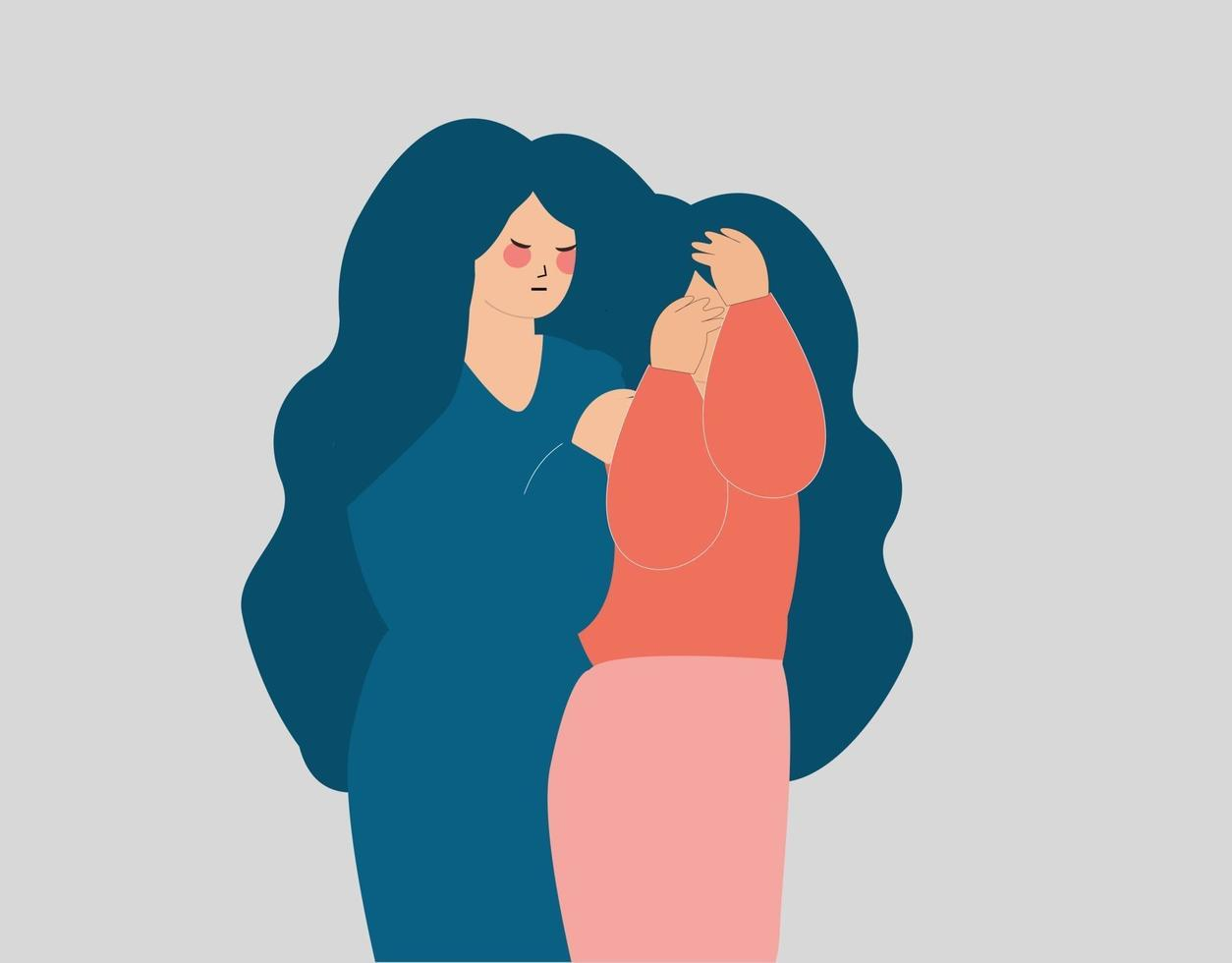 mulher deprimida cobrindo o rosto e sendo apoiada pela amiga. vetor