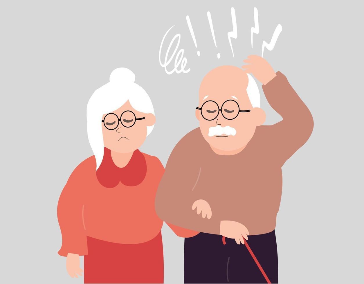 marido e mulher idosos com ansiedade. casal de idosos com alzheimer vetor