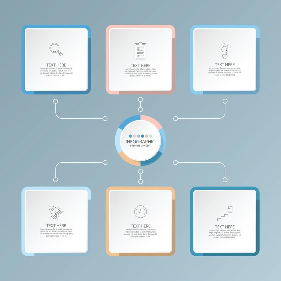 modelo básico de infográfico com 6 etapas, vetor