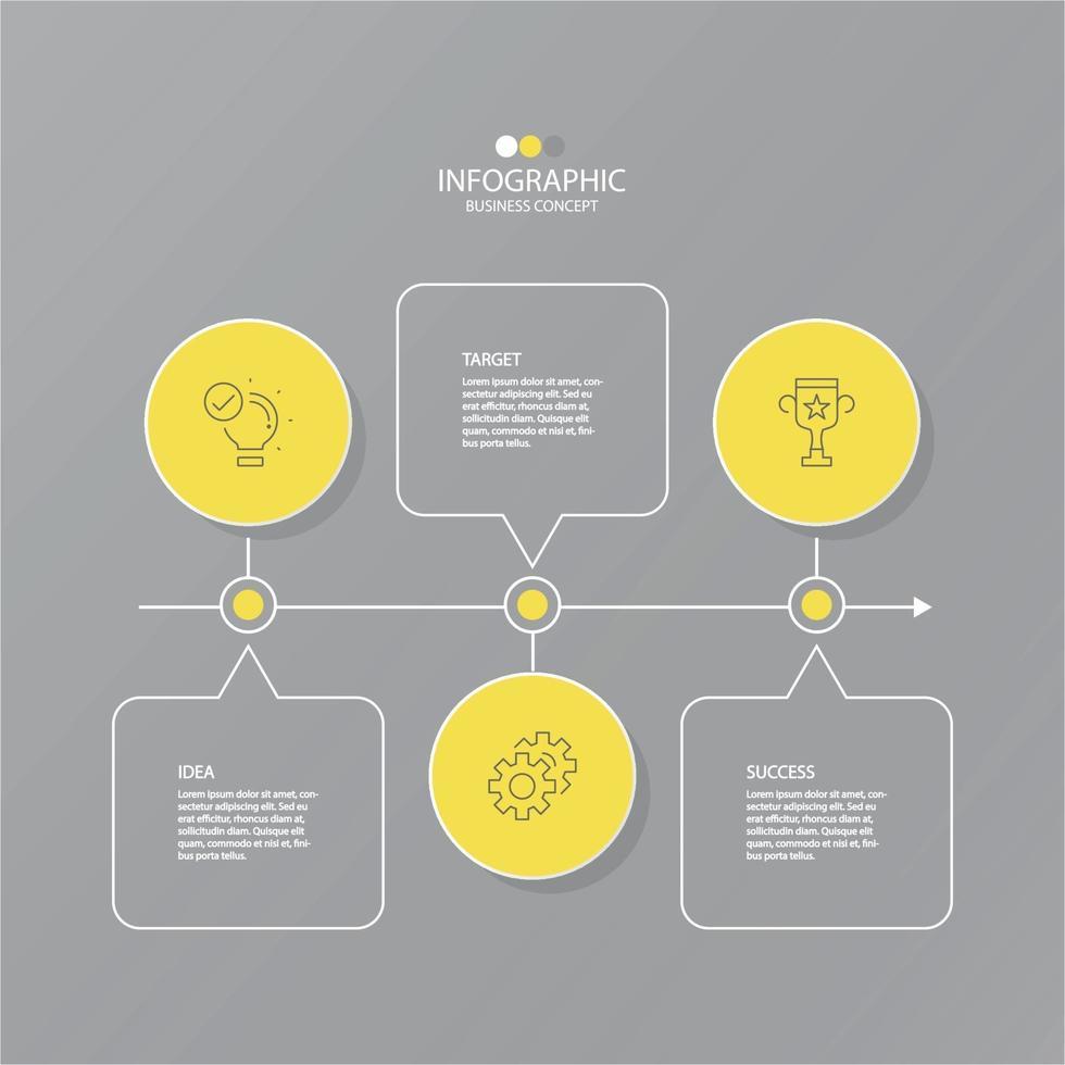 modelo básico de infográfico com 3 etapas. vetor