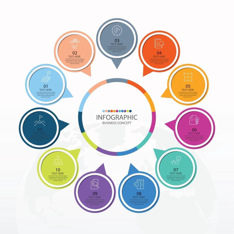 modelo de infográfico de círculo básico com 11 etapas vetor
