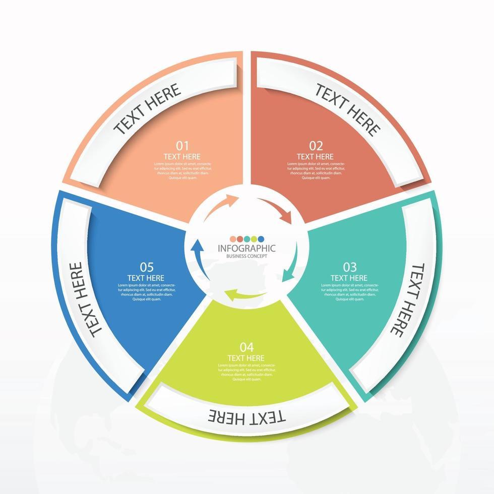 apresentação infográfico de negócios com 5 opções com ícones de linhas finas vetor