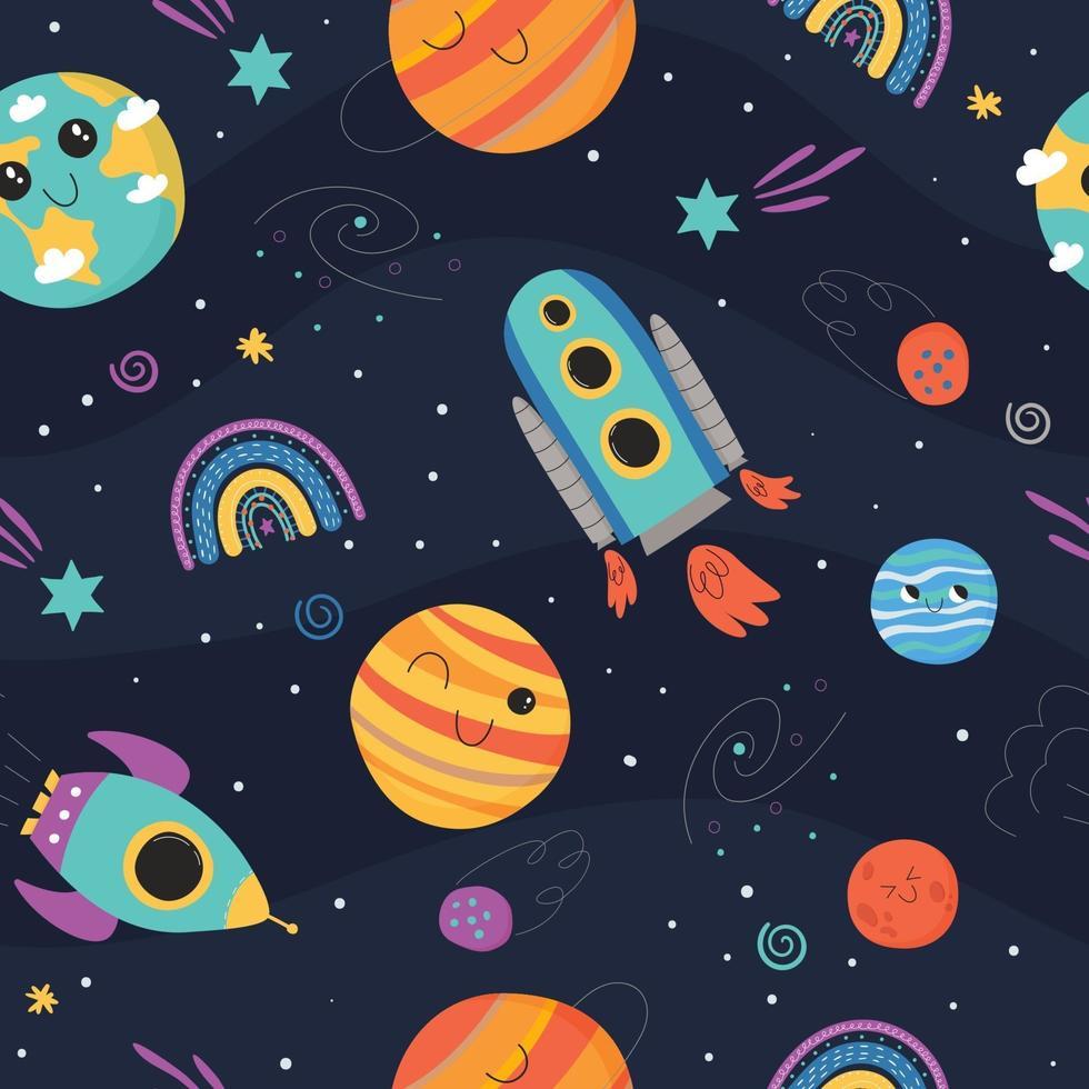padrão sem emenda fofo com conceito de espaço para crianças vetor