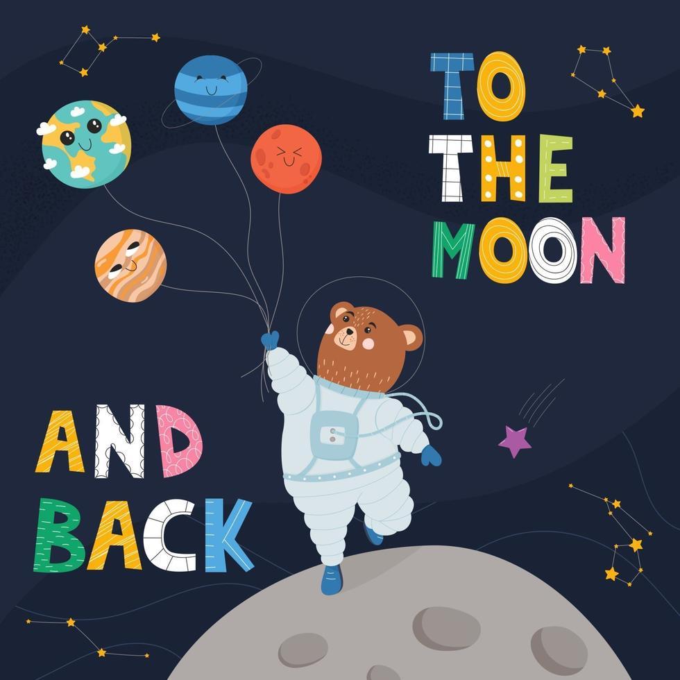 astronauta urso em traje espacial na lua. cartaz para crianças vetor