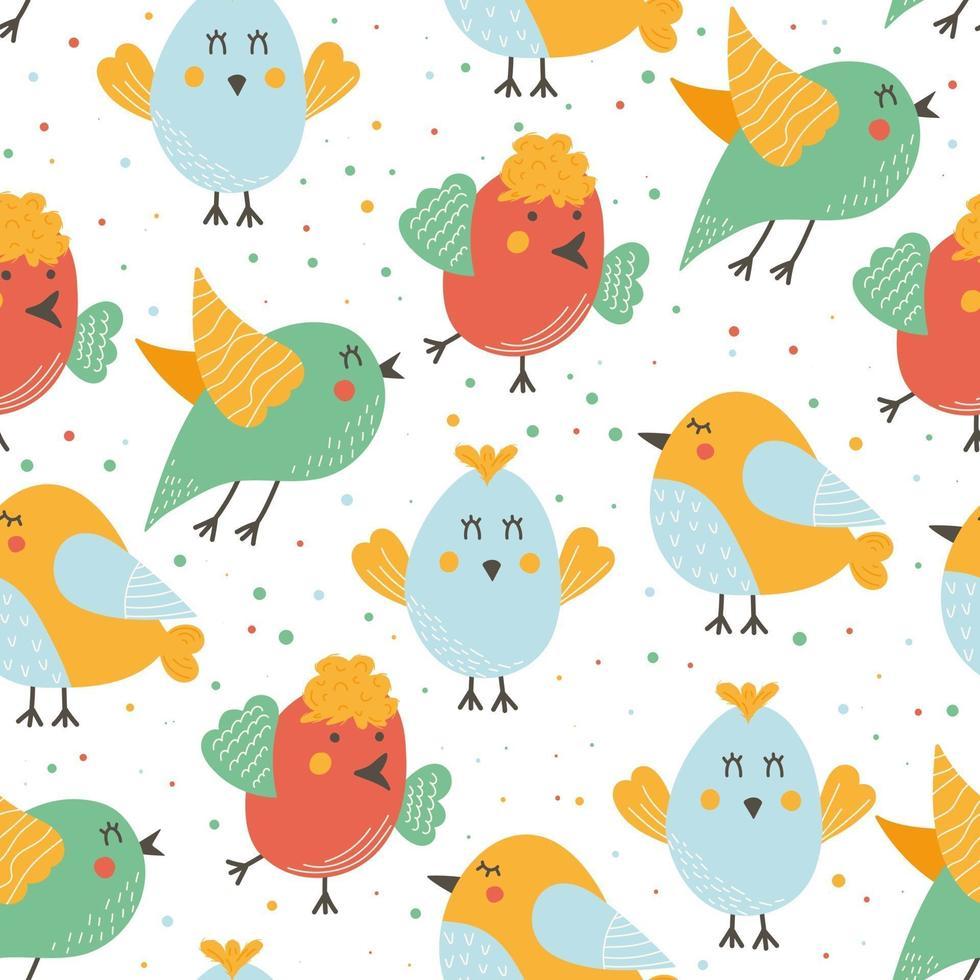 padrão sem emenda de páscoa com pássaros fofos vetor