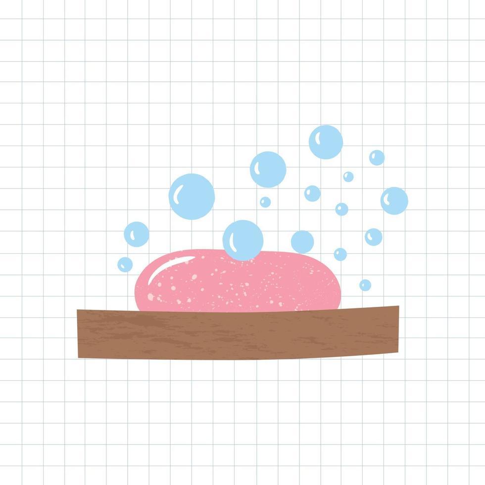 ilustração do vetor de elementos de banheiro. saboneteira e sabonete espumoso.