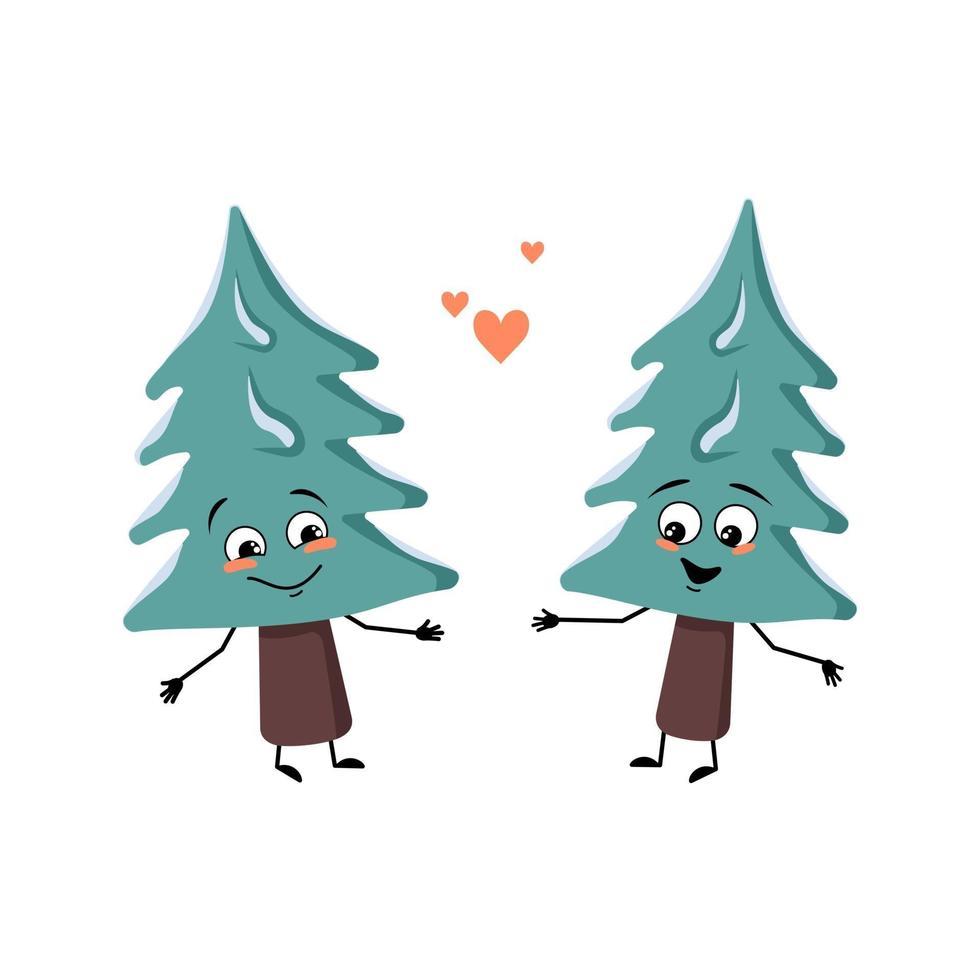 linda árvore de natal com emoções de amor, rosto sorridente, braços e pernas vetor