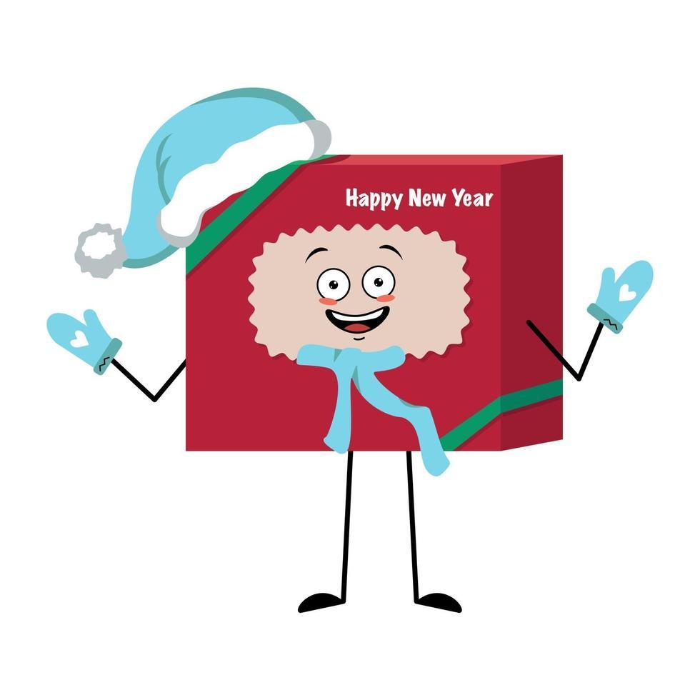 Caixa de presente de personagem fofa para o ano novo com laço e emoções alegres vetor