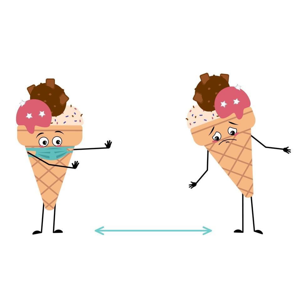 personagens fofinhos de sorvete com emoções, rosto e máscara mantêm distância vetor