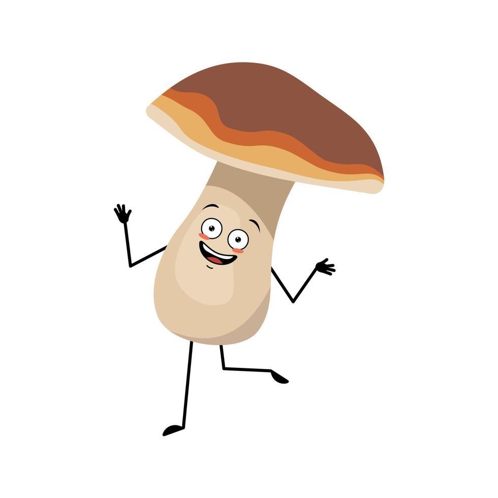 personagem de cogumelo fofo com emoções alegres, rosto sorridente, dança vetor