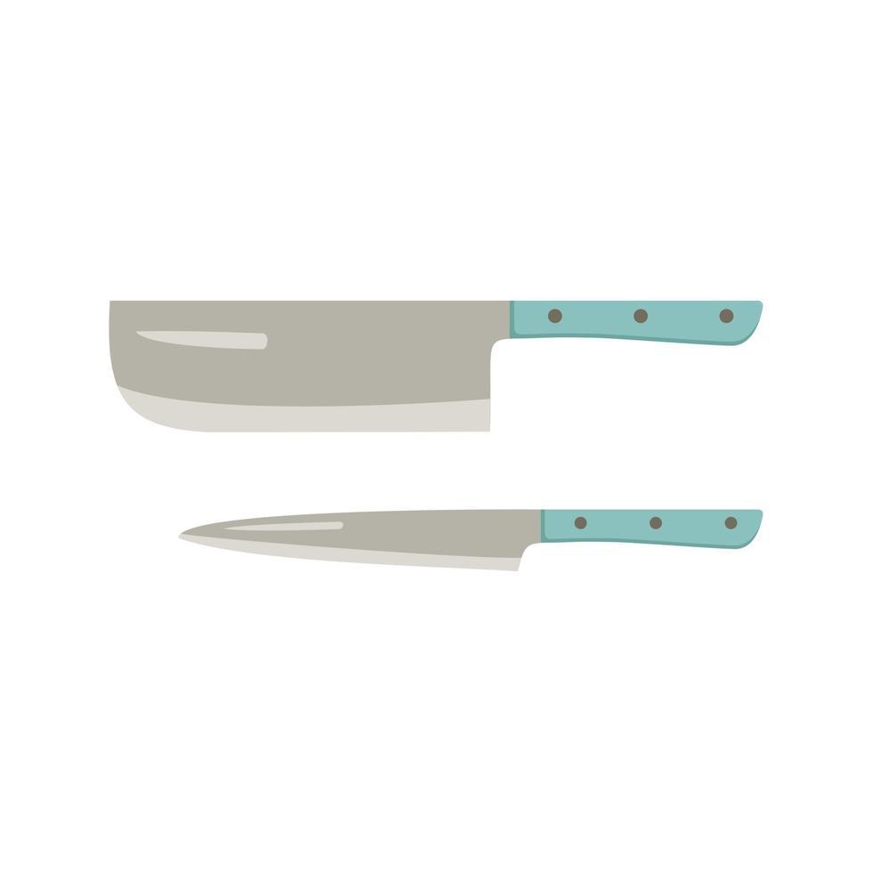 conjunto de facas de cozinha. itens para cozinhar carne, peixe e outros produtos vetor