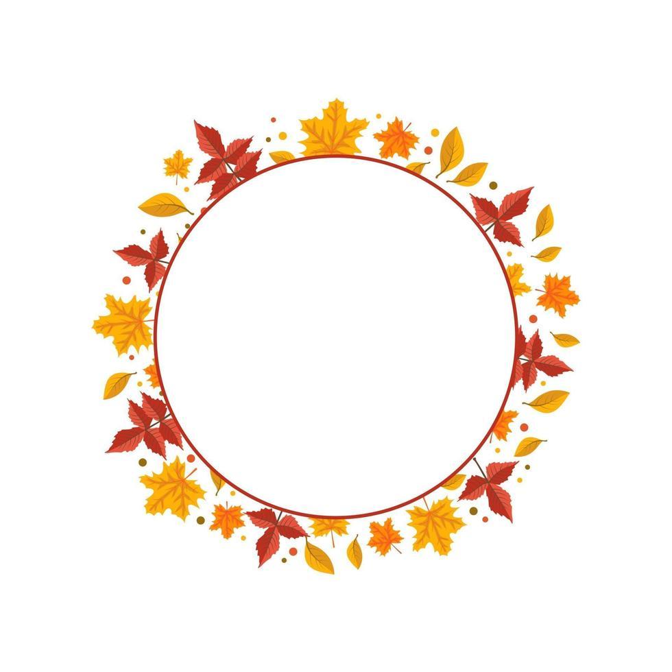 moldura redonda com folhas de bordo laranja e amarelo vetor