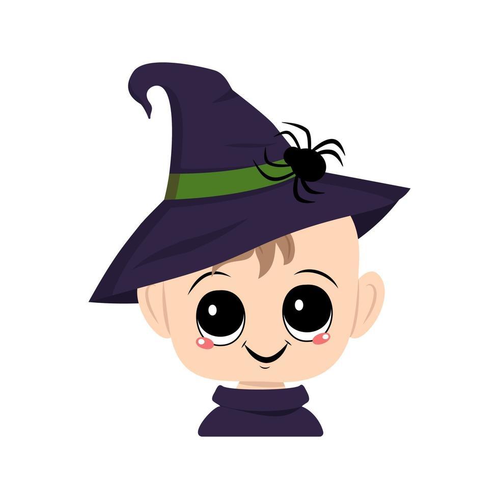 criança com olhos e um sorriso feliz em um chapéu pontudo de bruxa com uma aranha vetor
