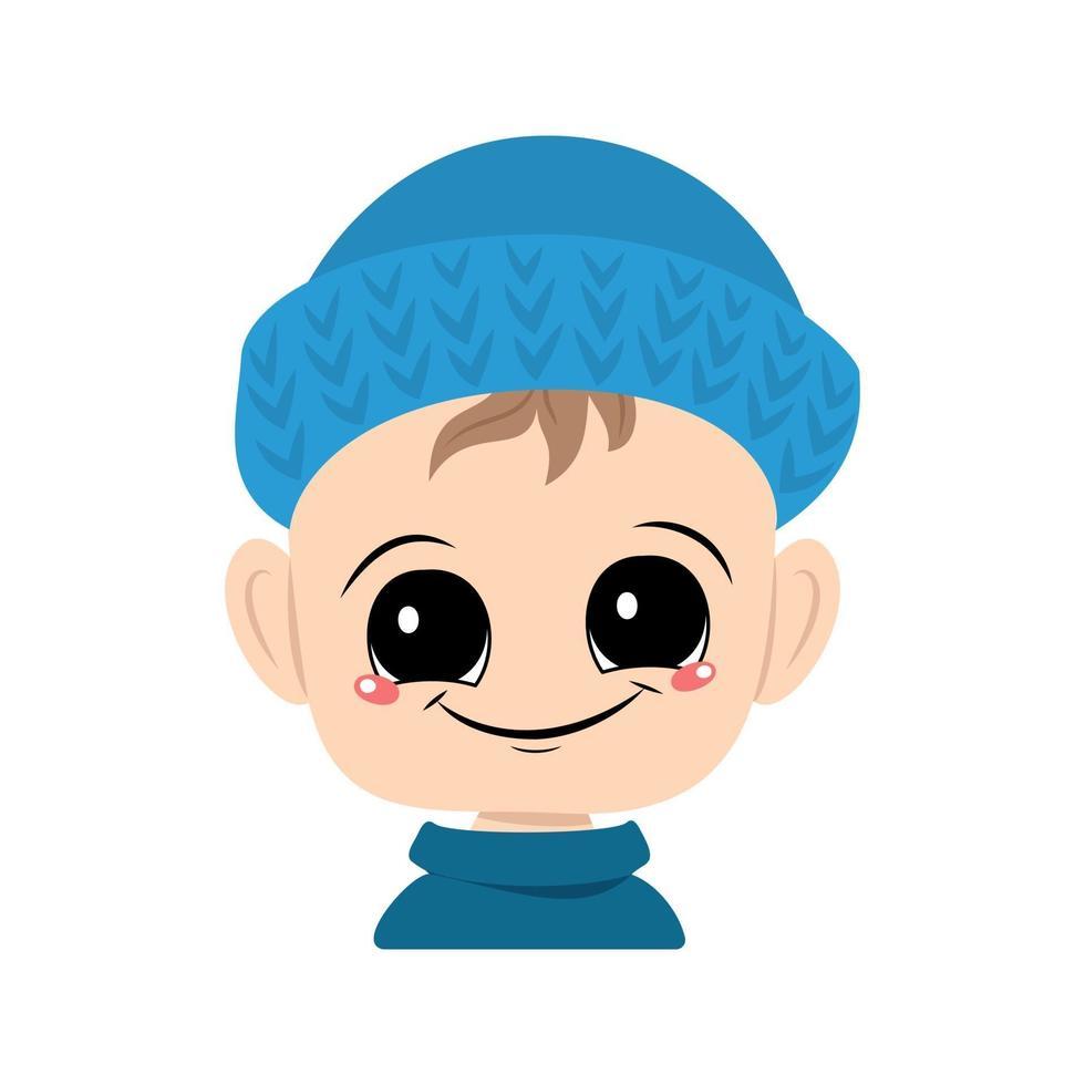 avatar de uma criança com olhos grandes e um sorriso largo em um chapéu de malha azul vetor