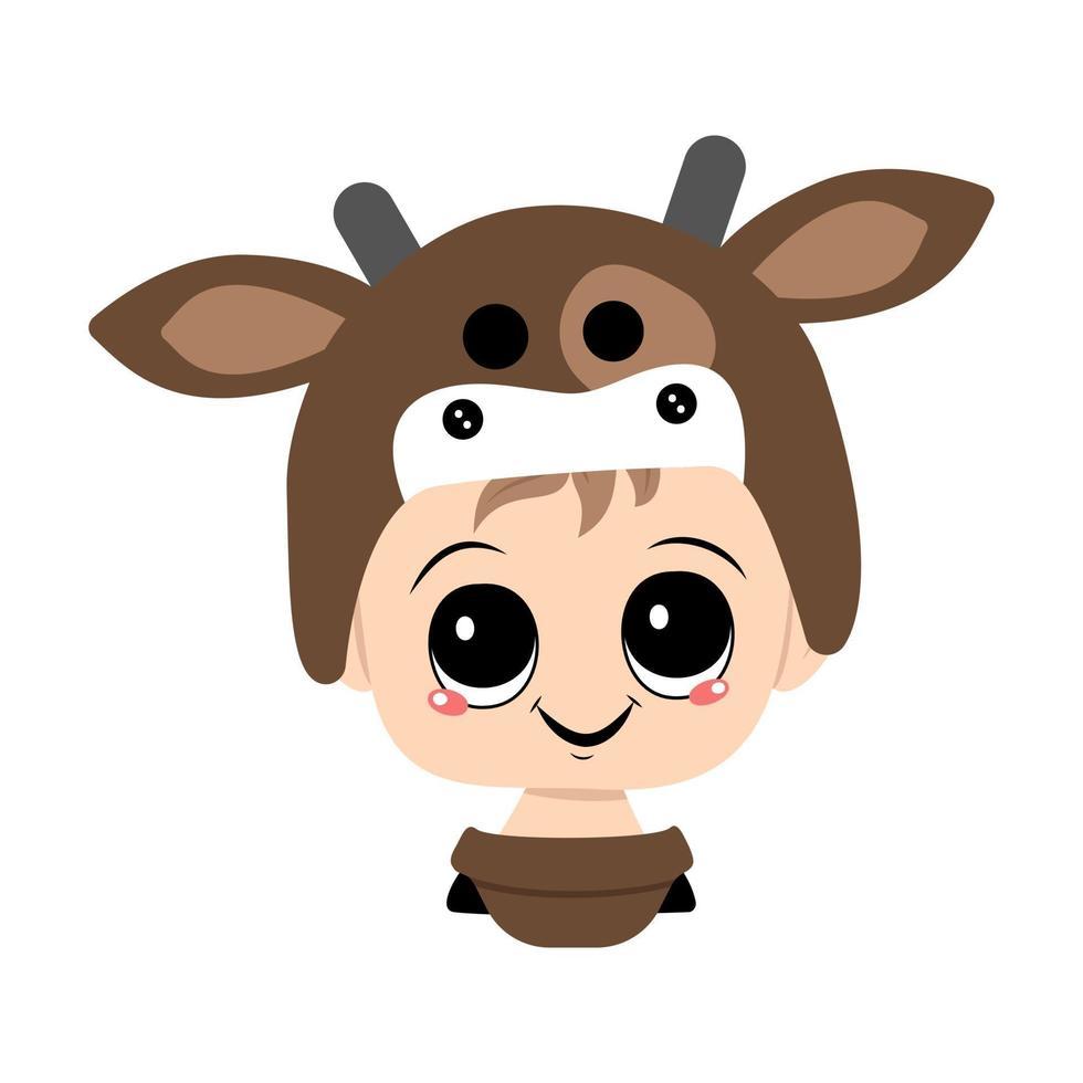 avatar de uma criança com olhos grandes e um sorriso largo e feliz em um chapéu de vaca vetor