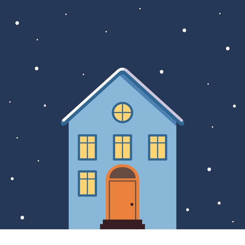 casa com telhado claro na neve, luz nas janelas e flocos de neve vetor