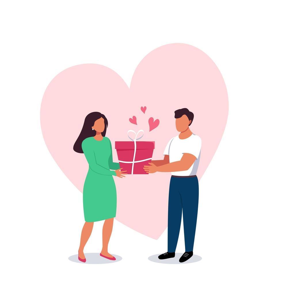 homem e mulher com uma caixa de presente nas mãos com um grande coração vetor
