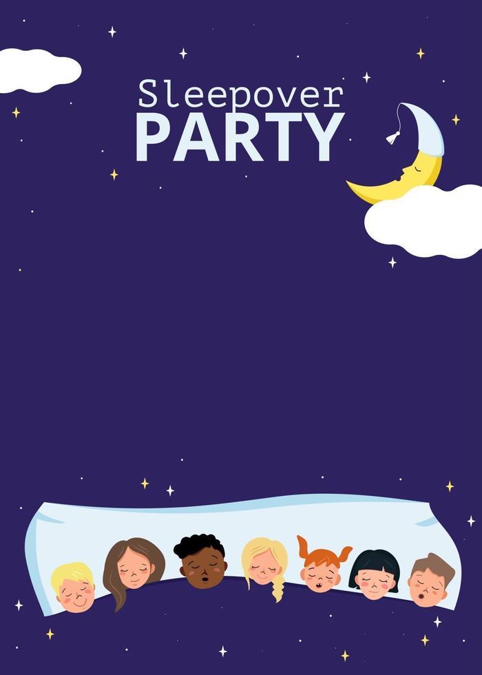pôster da festa do pijama infantil em estilo festa do pijama vetor