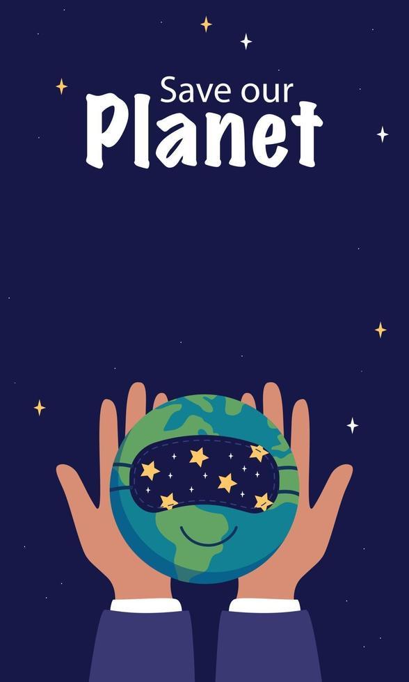 dia mundial do sono. mãos segurando um planeta Terra adormecido em uma máscara vetor