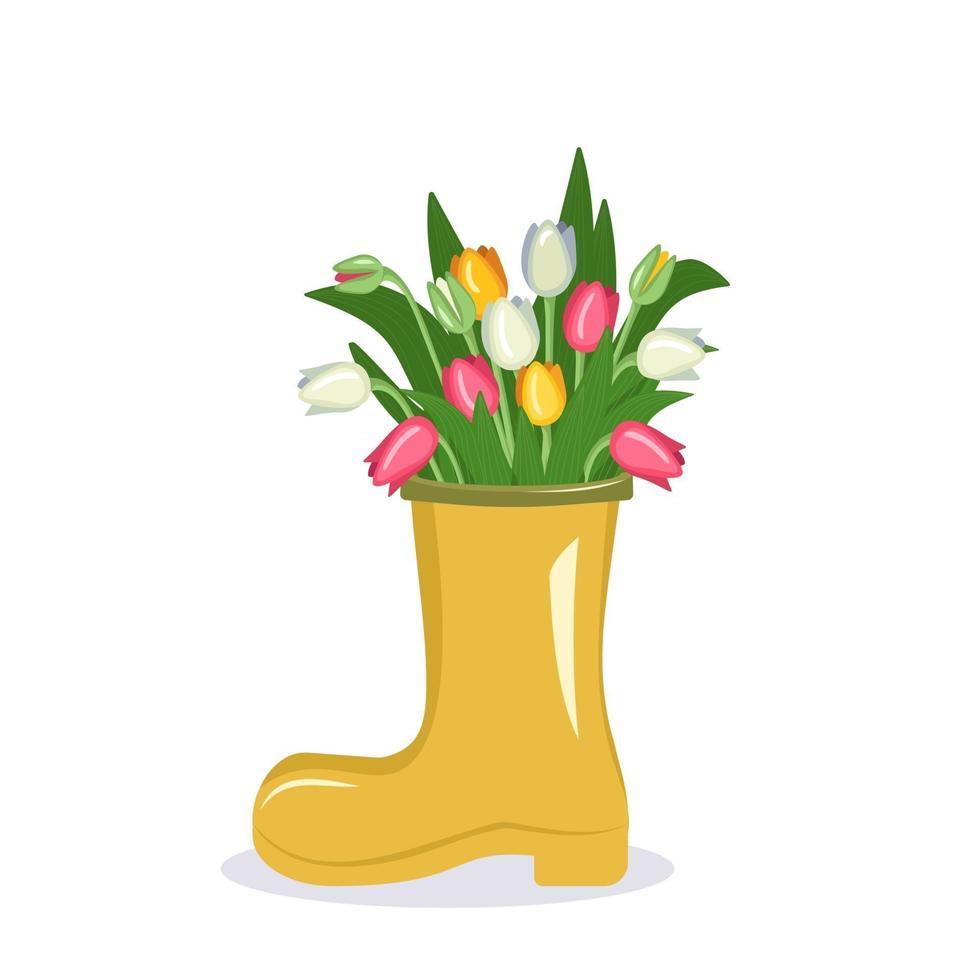 lindas flores roxas de primavera e verão em um vaso vetor