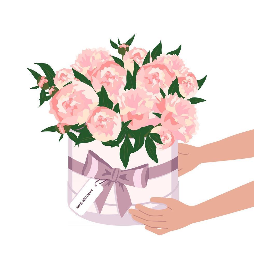 mãos seguram flores em uma caixa redonda. entrega de um buquê de peônias vetor