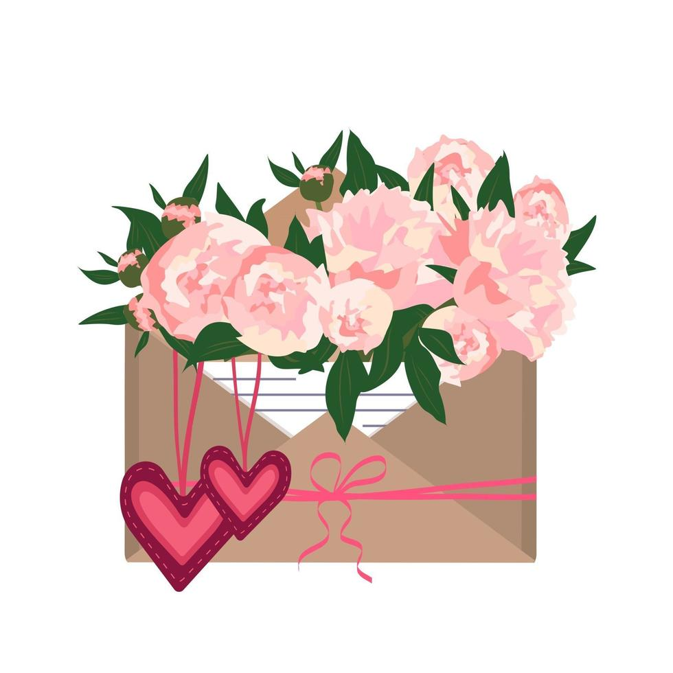 peônias em um envelope artesanal com uma nota de amor e corações vetor