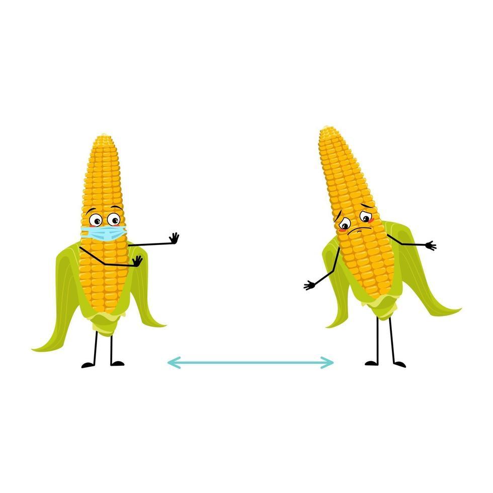 Personagem de sabugo de milho com emoções, rosto e máscara mantêm distância vetor