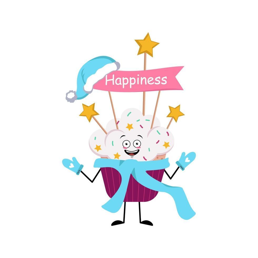 personagem de cupcake fofo com emoções alegres, rosto, olhos felizes vetor