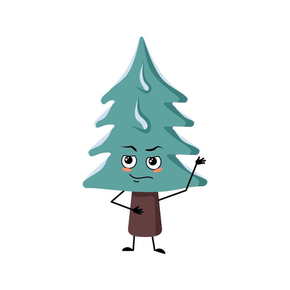 árvore de natal com as emoções de um herói, um rosto corajoso, braços e pernas vetor