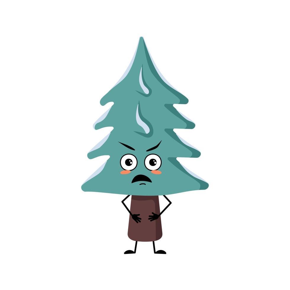 personagem da árvore de natal com emoções raivosas, rosto, braços e pernas vetor