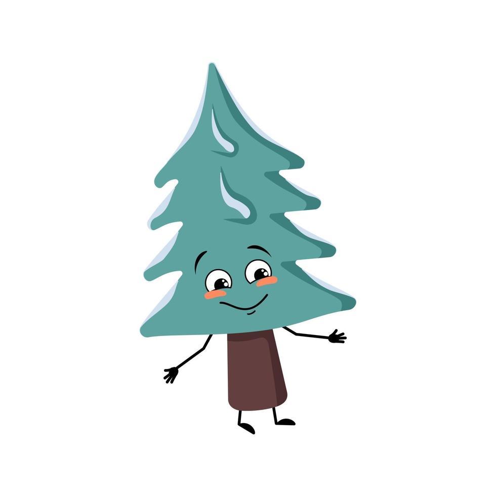 árvore de natal com emoções felizes, rosto sorridente, braços e pernas vetor