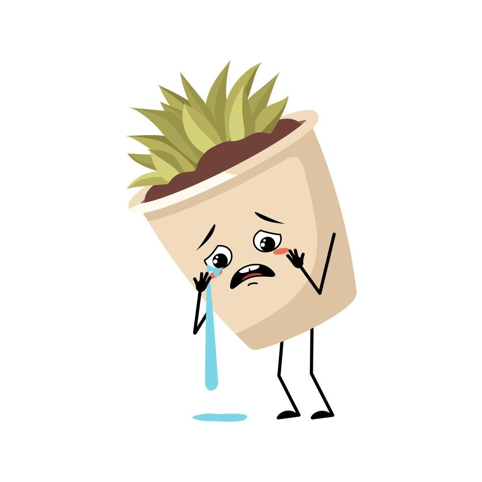 planta de interior de personagem fofa em um vaso com emoção de choro e lágrimas vetor