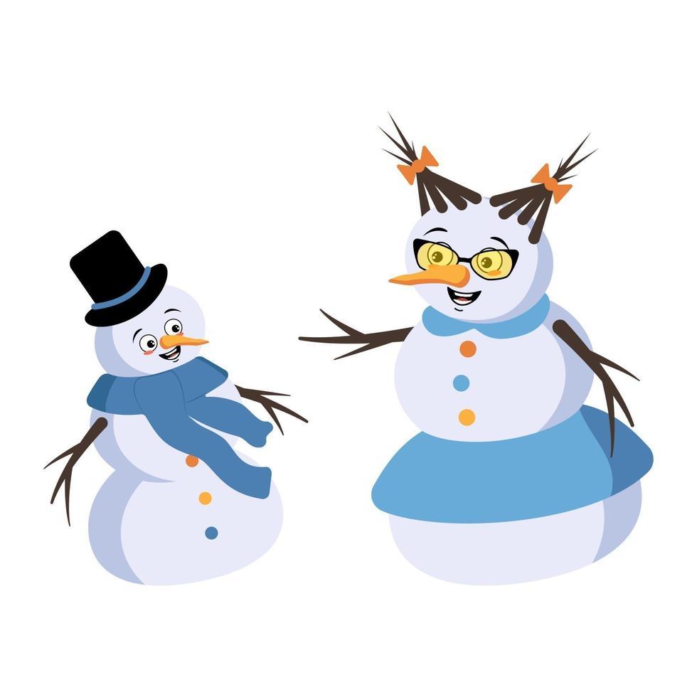 boneco de neve de natal e mulher de neve com emoções alegres vetor