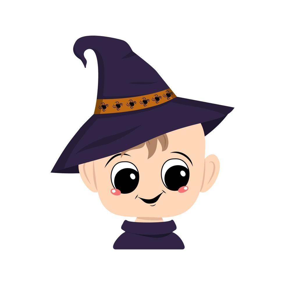 criança com olhos grandes e sorriso feliz em chapéu pontudo de bruxa vetor