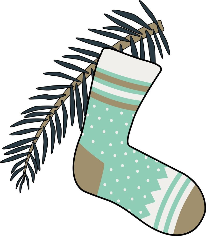 meia de ano novo com padrões e um galho de árvore de natal vetor