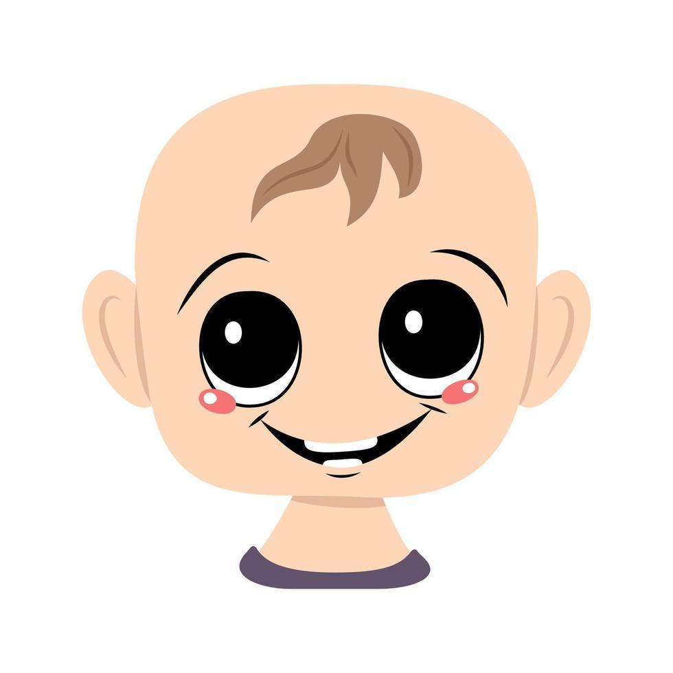 avatar de uma criança com olhos grandes e um largo sorriso feliz vetor