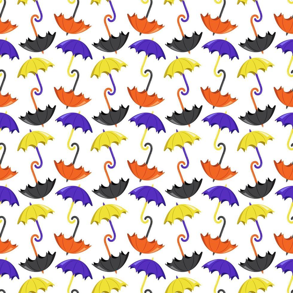padrão sem emenda com guarda-chuvas amarelos e roxos brilhantes vetor
