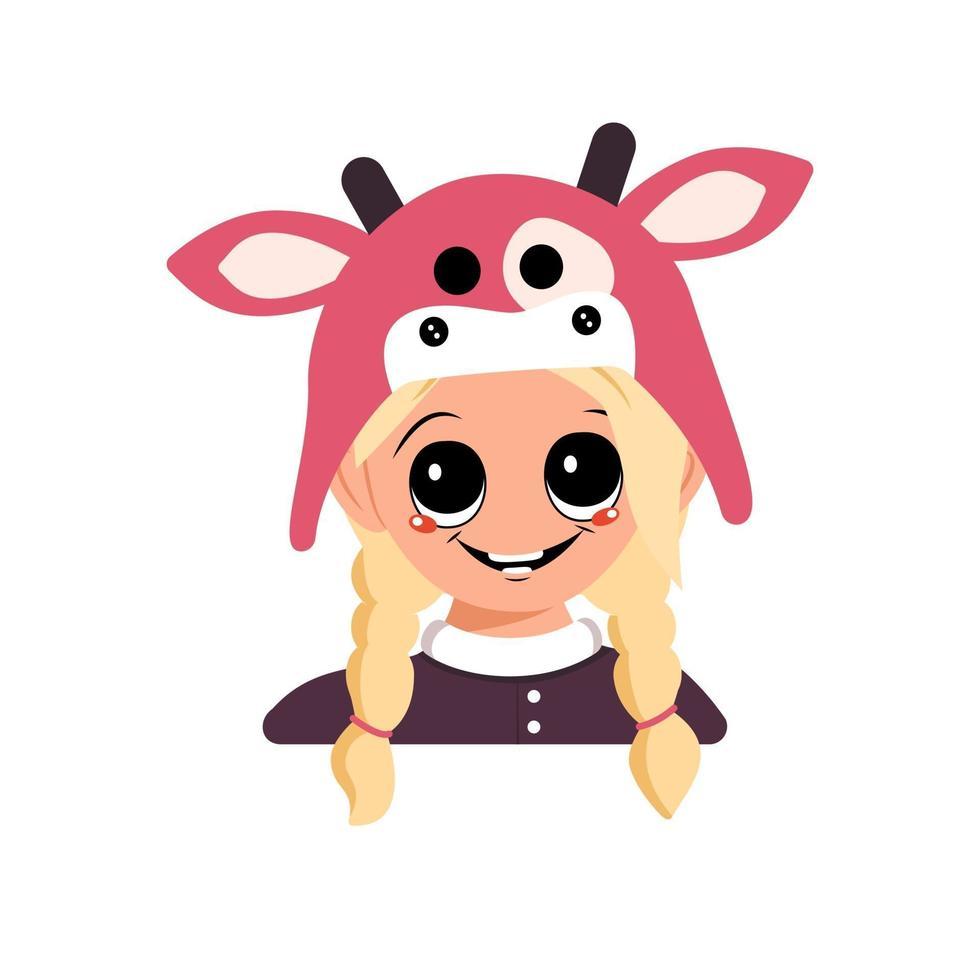 menina com cabelo loiro, olhos grandes e sorriso feliz com chapéu de vaca vetor