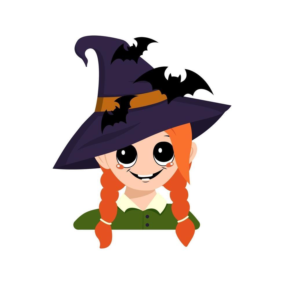 menina com cabelo vermelho, olhos grandes e sorriso feliz com chapéu pontudo de bruxa vetor