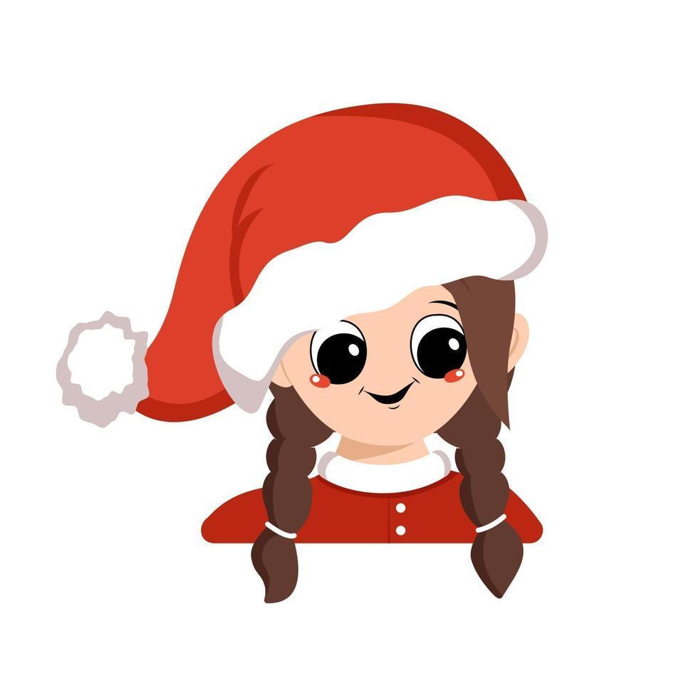 avatar de menina com olhos grandes e sorriso largo e feliz em chapéu de Papai Noel vermelho vetor