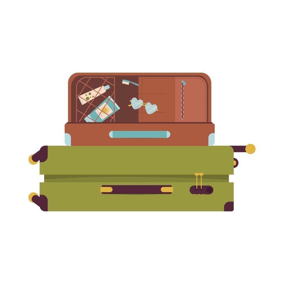 malas de férias e viagens. artigos de verão para o turista vetor