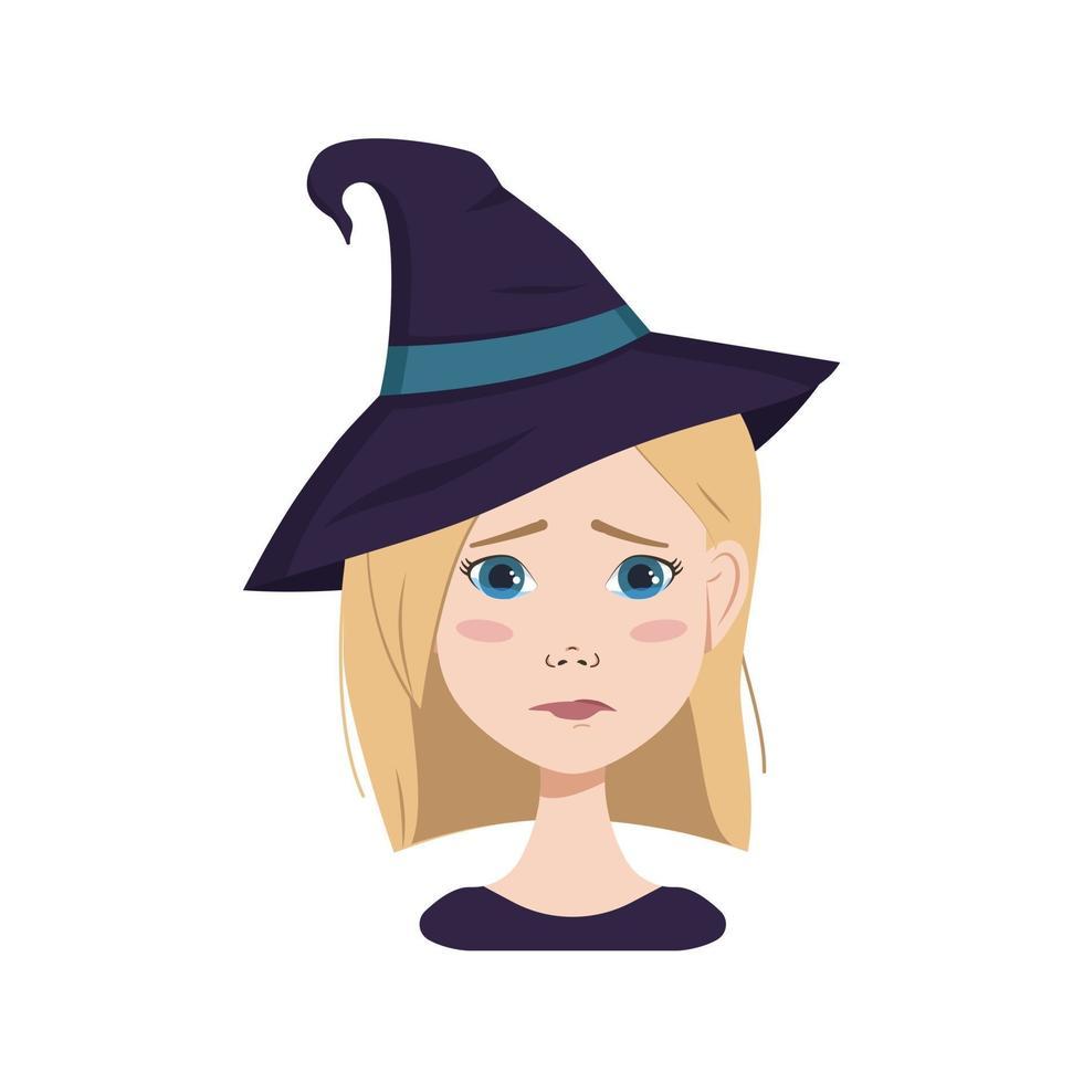mulher com cabelo loiro, emoções tristes, rosto chorando com chapéu de bruxa vetor