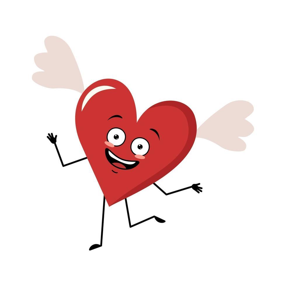 personagem coração vermelho com asas, emoções alegres, rosto sorridente, dança vetor