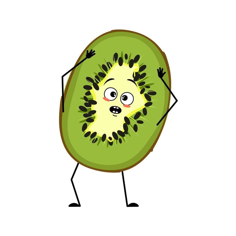 personagem kiwi fofo com emoções em pânico vetor