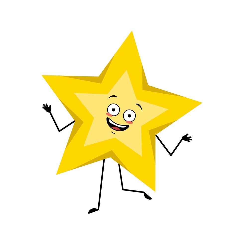 estrela fofa com emoções alegres e dançantes vetor